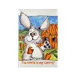 Cartoon Rabbit Carrot Rectangle Magnet (10 pack)