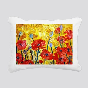 Red Poppy Bed Decorative Rectangular Canvas Pillow