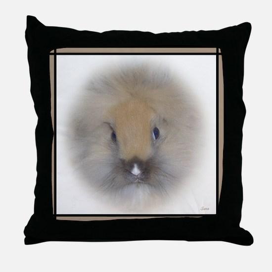 Lionhead Bunny in Beige Throw Pillow