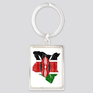 Kenya Flag and Map Aged Portrait Keychain