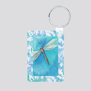 Dragonfly Watercolor Aluminum Photo Keychain