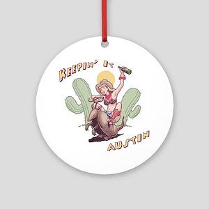austin-armadillo-T Round Ornament