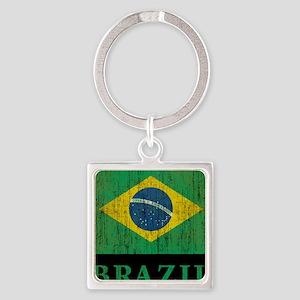 Vintage Brazil Square Keychain