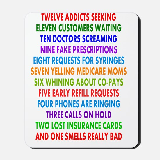 PHARMACIST 12 DAYS OF CHRISTMAS 2 Mousepad