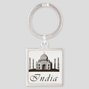 Retro Taj Mahal Square Keychain
