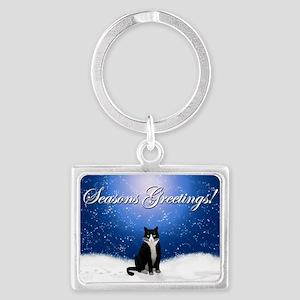 Seasons Greetings Tuxedo Cat Landscape Keychain