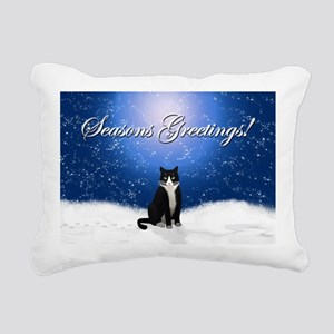 Seasons Greetings Tuxedo Rectangular Canvas Pillow