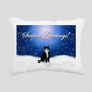 Seasons Greetings Tuxedo Rectangular Canvas Pillow