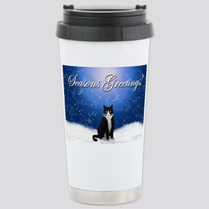 Seasons Greetings Tuxedo Cat Stainless Steel Trave