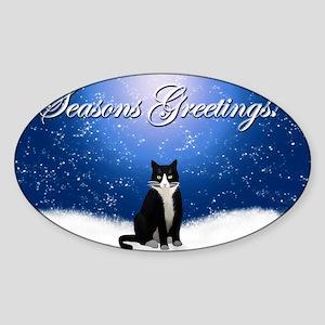 Seasons Greetings Tuxedo Cat Sticker (Oval)