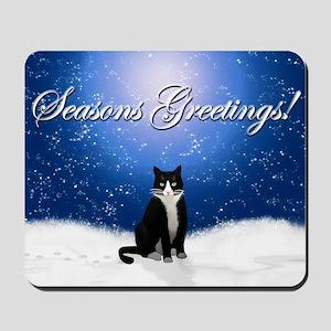 Seasons Greetings Tuxedo Cat Mousepad