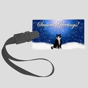 Seasons Greetings Tuxedo Cat Large Luggage Tag