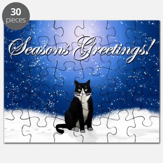 Seasons Greetings Tuxedo Cat Puzzle