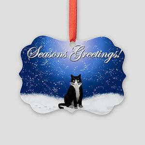 Seasons Greetings Tuxedo Cat Picture Ornament