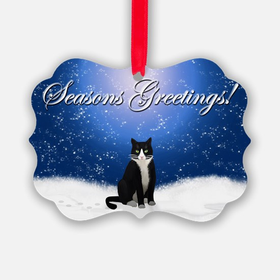 Seasons Greetings Tuxedo Cat Ornament