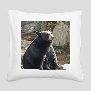 Black Bear Sitting Square Canvas Pillow