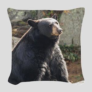 Black Bear Sitting Woven Throw Pillow