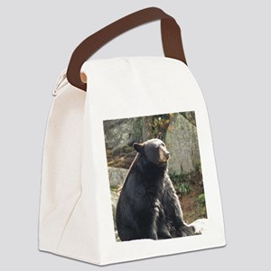 Black Bear Sitting Canvas Lunch Bag