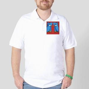 Aqua Owl red Flip Flops Golf Shirt