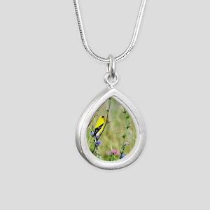 American Goldfinch Silver Teardrop Necklace