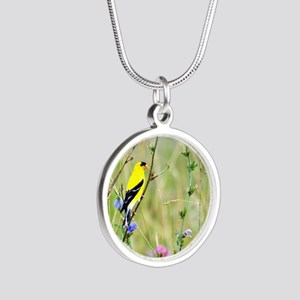 American Goldfinch Silver Round Necklace