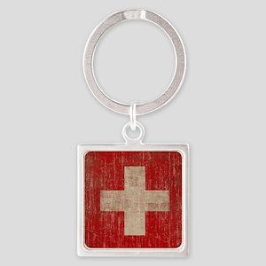 Vintage Switzerland Square Keychain