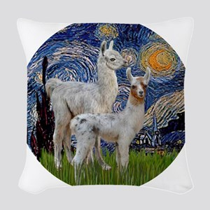 Starry Night with two Baby Lla Woven Throw Pillow