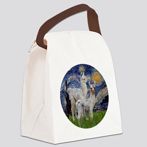Starry Night with two Baby Llamas Canvas Lunch Bag