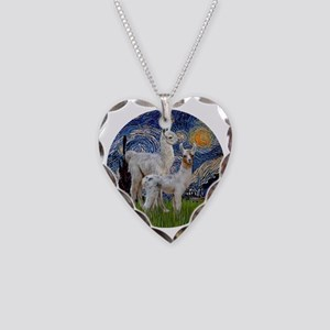Starry Night with two Baby Ll Necklace Heart Charm
