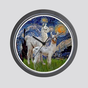 Starry Night with two Baby Llamas Wall Clock