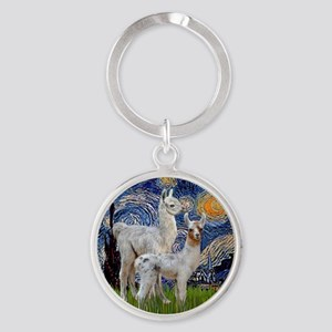 Starry Night with two Baby Llamas Round Keychain