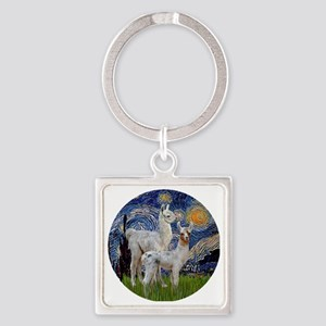 Starry Night with two Baby Llamas Square Keychain