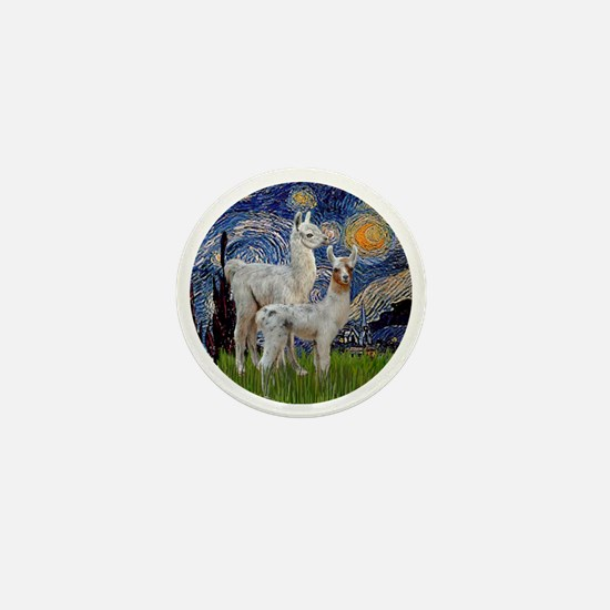 Starry Night with two Baby Llamas Mini Button