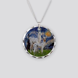 Starry Night with two Baby L Necklace Circle Charm