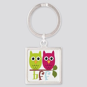 BFF Best Friends Forever Owls Square Keychain