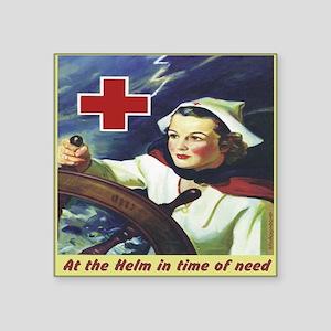 "Nurse at the Helm Square Sticker 3"" x 3"""