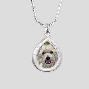 Happy Westie Silver Teardrop Necklace