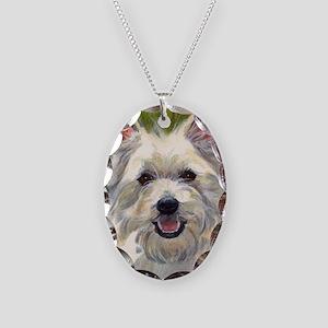 Happy Westie Necklace Oval Charm