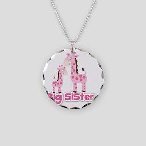 Big Sister Pink Giraffes Necklace Circle Charm
