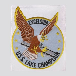 uss lake champlain patch transparent Throw Blanket