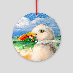 Sammy The Seagull Smokes A Cig Round Ornament