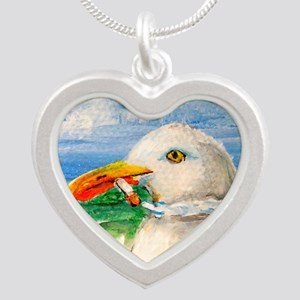 Sammy The Seagull Smokes A C Silver Heart Necklace