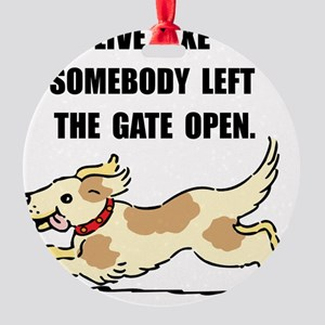 Dog Gate Open Round Ornament