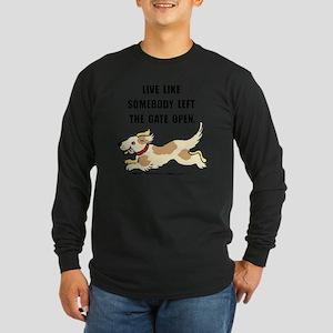 Dog Gate Open Long Sleeve Dark T-Shirt