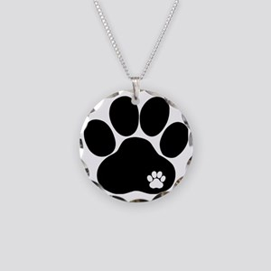 Double Paw Print Necklace Circle Charm