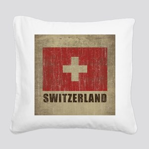 Vintage Switzerland Square Canvas Pillow