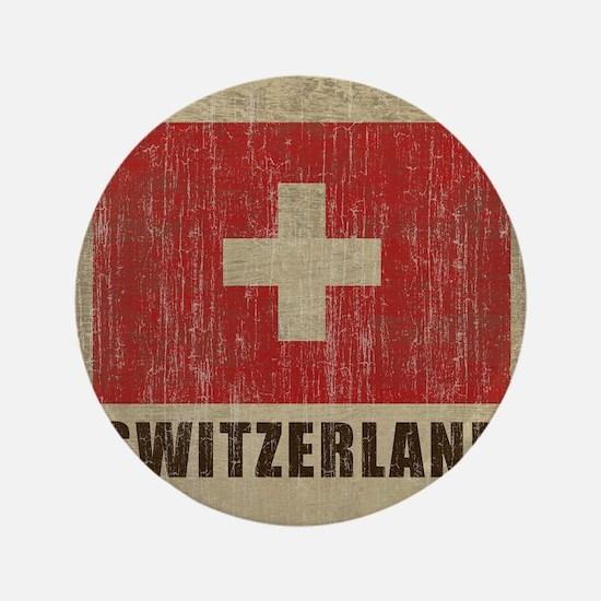"""Vintage Switzerland 3.5"""" Button"""