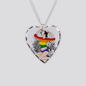 LGBT Pin Up Girl Necklace Heart Charm