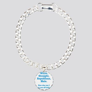 White Straight Republica Charm Bracelet, One Charm