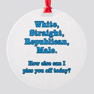 White Straight Republican Male Round Ornament